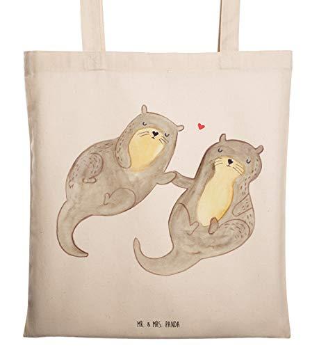 Mr. & Mrs. Panda Tasche, Jutebeutel, Tragetasche Otter händchenhaltend - Farbe Transparent