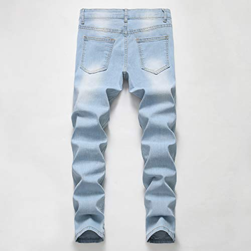 Boy's Skinny Fit Elastic Waist Ripped Distressed Stretch Fashion Jeans Pants,Light Blue,12