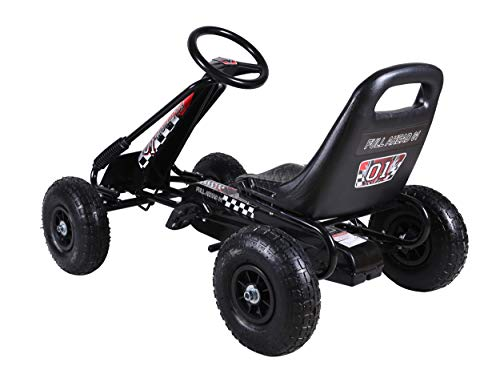 GALACTICA Kids Children Outdoor Go Kart Ride On Car With Pedal Rubber Wheels Handbrake Adjustable Seat G02 Black