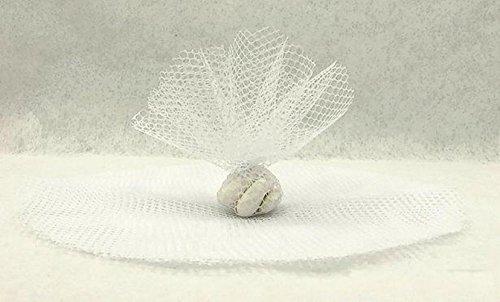 Tüllkreise Netz, rund, 50 Stück, weiss, für Bonbonieren, Gastgeschenk, Hochzeit, Taufe