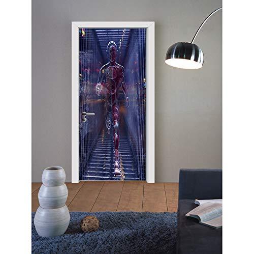 HDPOIUY Etiqueta De La Pared De La Puerta Horror Alien Poster Figura 3D Etiqueta De La Puerta Decoración Salón Dormitorio Mural Calcomanía 30x78 (in)