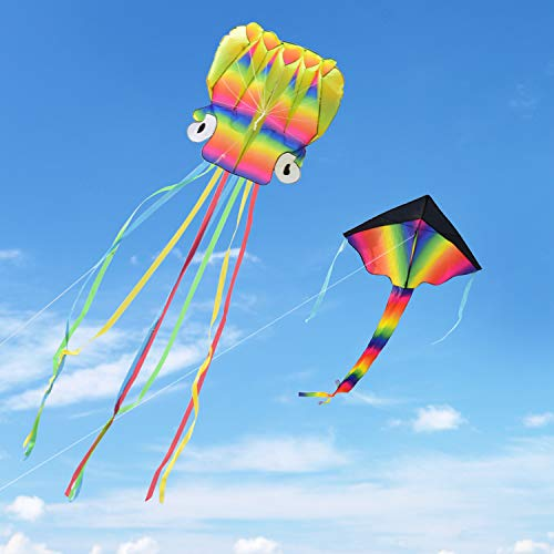 Kupton 2 Pack Kites Kit, 5M Large Octopus Kite and Rainbow Delta Kite with Beautiful Tails for Kids and Adults, Easy to Fly for Childrens Outdoor Games and Activities