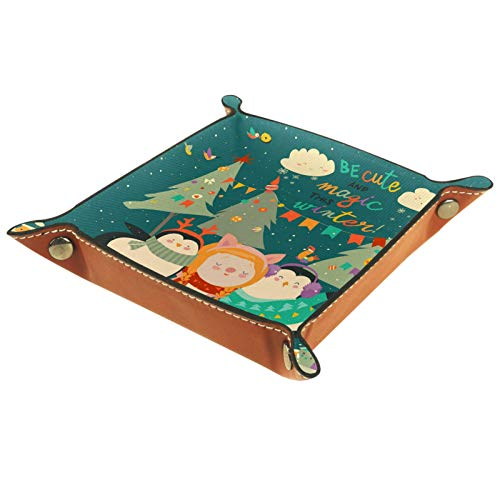 Caja de almacenamiento pequeña, bandeja de valet para hombre,Mi primer árbol de navidad,Organizador de cuero para llaves de caja de monedas