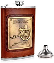 Menzy Stainless Steel and Stitched Leather Hip Flask 8 oz (230 Ml), England Design Wine Whiskey Vodka Alcohol Drinks Pocket Bottle with Funnel Set for Men Women