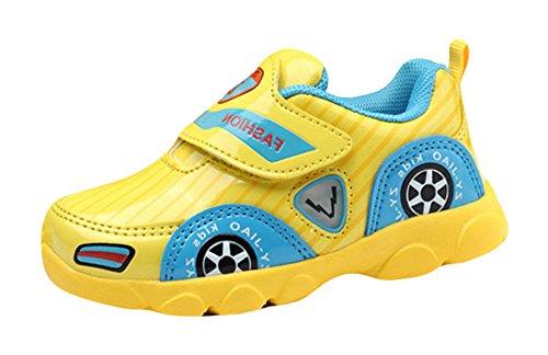 Insun Unisex Babyschuhe Auto Kinder Sportschuhe Jungen Mädchen Freizeitschuhe Sneaker Lauflernschuhe Krabbelschuhe Gelb 24 EU