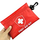 Risen First Aid Kit, Compact Medical Emergency Survival Kit, Perfect for Car, Travel, Home, Workplace, Vehicle, Camping, Hiking, Boating, Outdoor (Red-S)