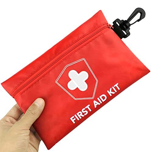 Risen Mini Botiquín de Primeros Auxilios, 100 Piezas Compactas Impermeables Pequeñas Kit de Supervivencia de Emergencia Médica, Coche, Viaje, Hogar, Lugar de Trabajo Y Al Aire Libre
