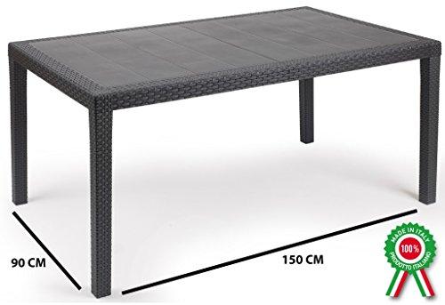 Prince - Table rectangulaire en résine imitation rotin et osier, couleur noir/anthracite