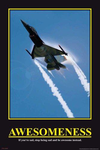 Motivational - Awesomeness - Jet Düsenjäger Flugzeug Poster - Grösse cm