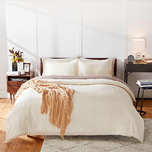cheap duvet covers kings Bedsure 100% Washed Cotton Duvet Covers King Size - Cream Beige Comforter Cover Set 3 Pieces (1 Duvet Cover + 2 Pillow Shams)