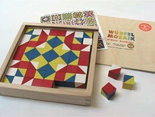 Liebe Handarbeit 46128 Würfel Mosaik, 64 Würfel in Holzkasrben Grundfarben 523