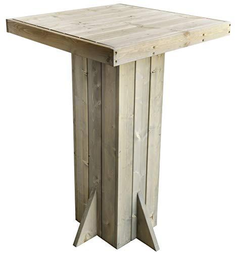 Trendyshop356 Stehtisch aus Kiefern-Holz Massivholz 110cm Vorbehandelt FSC Grau Quadratisch Garten-Tisch Bistrotisch Holztisch Bartisch 4 Personen