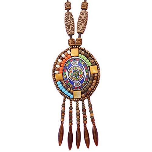 Boho Beaded necklaces for women Long Pendant Beads wood Necklaces for women beads Necklace wooden By DREMINOVA (Hippie Ethnic)