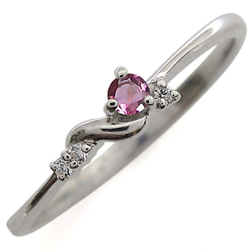 [プレジュール]ピンキーリング ピンクトルマリン リング シルバー ホワイトコーティング 指輪リングサイズ7号