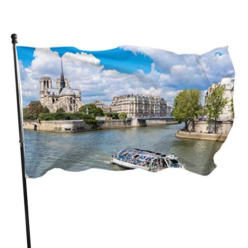 JDQP Belle Notre Dame De Paris Décor Personnalisé Drapeaux De Jardin Imprimer Drapeau 3x5 Pieds Couleurs Vibrantes Qualité Polyester et Oeillets en Laiton