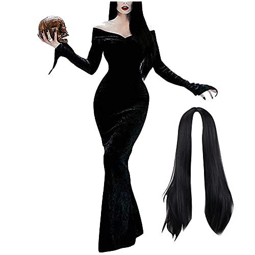 Disfraz de Morticia Addams con Peluca, Disfraz de Halloween, Disfraces de la Familia Addams, Vestido de Morticia con Hombros Descubiertos, Vestido gtico de Fiesta