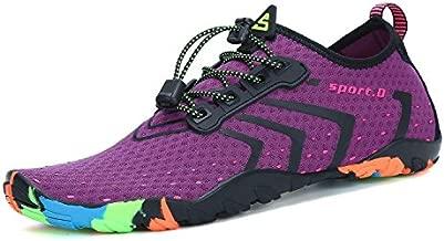 Mens Womens Water Shoes Quick Dry Barefoot for Swim Diving Surf Aqua Sports Pool Beach Walking Yoga Purple 9.5