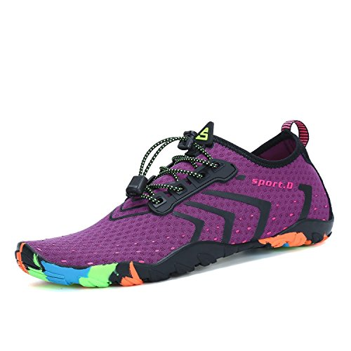 Mens Womens Water Shoes Quick Dry Barefoot for Swim Diving Surf Aqua Sports Pool Beach Walking Yoga Purple 7