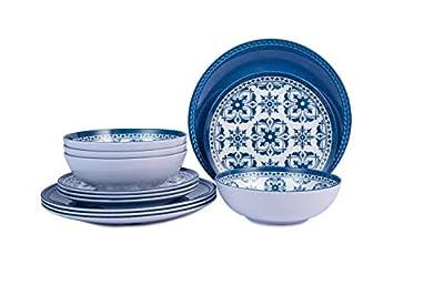 Melamine Dinnerware Set for 4-12pcs Outdoor Plates and Bowls Set, Dishwasher Safe, Blue Flower