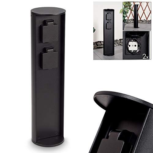 Steckdosensäule Stewart, zylindrische Säule aus Metall in schwarz, 2-fach Steckdose mit einer Höhe von 40,5 cm, Gartensteckdose mit Klappdeckel, IP44, 16A/250V Anschluss