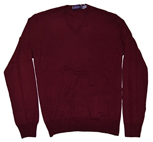 Ralph Lauren Polo Mens Purple Label Red Vneck Sweater Cashmere Italy XL $950