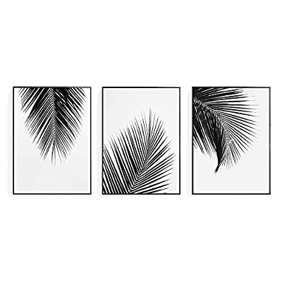 Artinme Trendy Framed Modern Abstract Elegant Black and White Palm Tree Leaves Giclee Canvas Prints Wall Art Picture Living Room Bedroom Home Decorations from Artinme