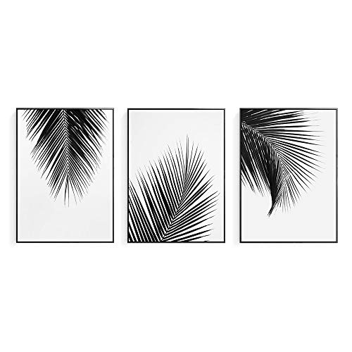 Artinme Trendy Framed Modern Abstract Elegant Black and White Palm Tree Leaves Giclee Canvas