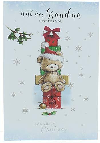 Grandma Christmas Card - Bear With Santa Hat Gifts Glitter & Foil 7.75x5.25