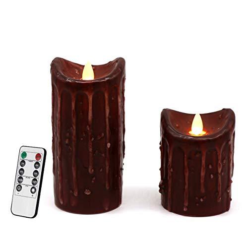 CVHOMEDECO. Lot de 2 bougies pilier à piles en cire véritable avec minuterie et télécommande, carrelage rustique, scintillement, flamme et flamme, décoration, H 15,2 et 10,2 cm