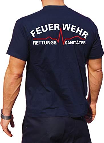 Feuer1 T-shirt fonctionnel Navy avec protection UV 30+, service de sauvetage (blanc/rouge) L bleu marine