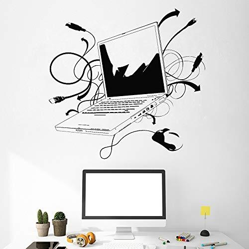 Patrón de computadora portátil etiqueta de la pared internet oficina vinilo etiqueta de la pared dormitorio juvenil decoración cartel 44 * 44 cm