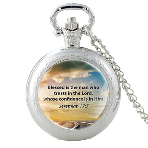 Reloj de bolsillo de cuarzo con texto 'Blessed is the Man Who Trusts in The Lord' para hombre y mujer, colgante de collar y reloj de horas