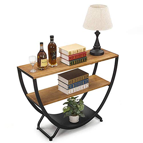 N\C Table Retro Console Table,Living Room Iron Art Semicircle Arc Wall Table Solid Wood Entering the Door Entrance Cabinet 39 × 12 × 29 INCH for Living Room Bedroom