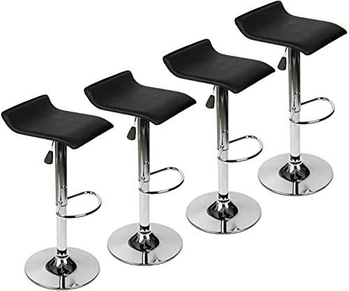 Startseite 360 Grad drehbarer Barhocker Mordern Kunstleder Pub Chair 2er-Set 4 (Farbe : Rot Größe : 4er-Set) (Farbe : Schwarz Größe : 2er-Set)