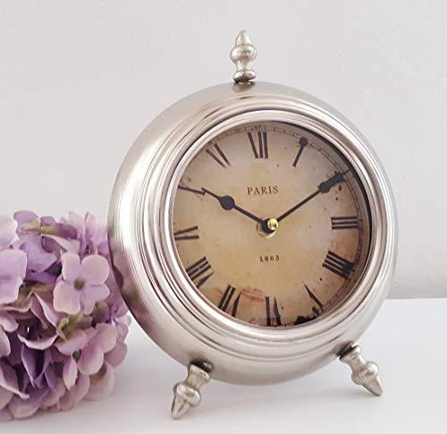LB Lilienburg Tischuhr Standuhr Kaminuhr Paris antik Silber Metall Glas 25x20cm Gross - Weckerdesign - DI