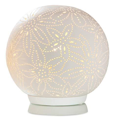 GILDE Lampe Kugel Blume - aus Porzellan mit Lochmuster im Prickellook H 17,5 cm