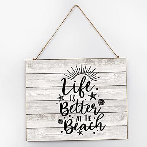 by Unbranded Letrero de madera divertido para hombre y mujer unisex para puerta o decoración Life Is Better at the Beach 25 x 30 cm