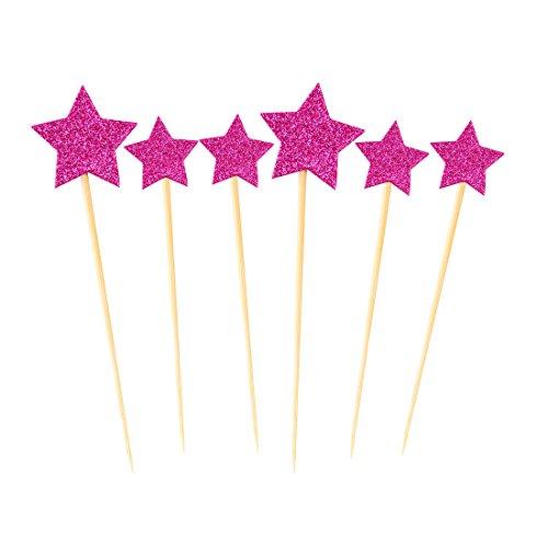 sourcingmap® Petit gâteau d'anniversaire en forme d'étoile pailleté cure-dents Picks décoratifs Topper 6 en 1