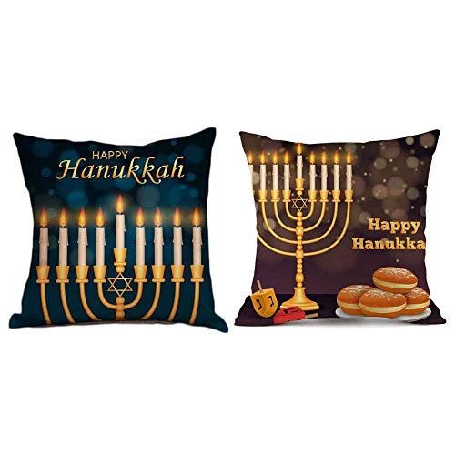 Seihoo Hanukkah Pillow Case for Couch Pillows - 2 Packs Hanukkah Throw Pillow Cases for Hanukkah Decoration (Dark-P4)