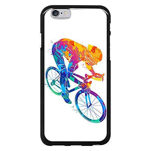 BJJ SHOP Custodia Nera per [ iPhone 6 / iPhone 6s ], Cover in Silicone Flessibile TPU, Design: Acquerello Ciclista, Amore per Le Biciclette