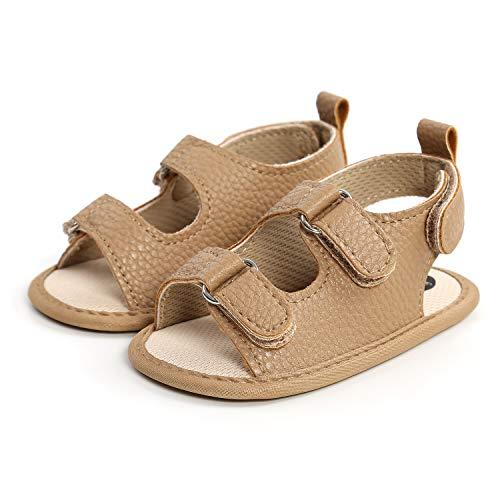 Zapatos de bebé de piel suave para bebé de 12 a 18 meses, Khaki, antideslizantes, para niños y niñas