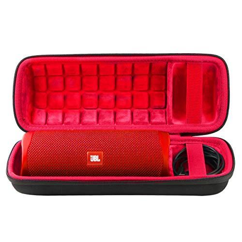 co2CREA Hart Tasche für JBL Flip 5 Bluetooth Box portabler Lautsprecher Hülle Etui Tragetasche (Schwarz Hülle/Innen Rot)