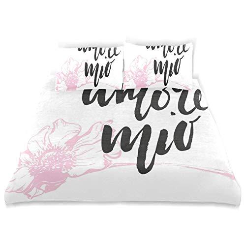 Yoyon Duvet Cover Set Amore Mio Cursive Handwriting Form with Pastel Outline Flower Decorative 3 Piece Bedding Set with 2 Pillow Shams