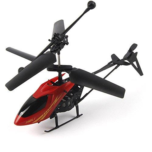 RC 901 2CH Mini helicóptero Radio Control remoto Aviones Micro 2 canales, RC helicóptero Volador Juguetes con Mando a Distancia Mano Control infrarrojo Drone de inducción para niños niñas (Rojo)
