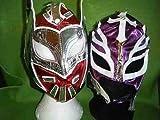 SOPHZZZZ TOY SHOP Rouge Sin Cara Violet Rey Mysterio Catch Masques WWE déguisement Costume Jeu de rôle Cosplay Nouveau-Mexique Masque Ray 2 Compris dans Prix Tout Neuf séries