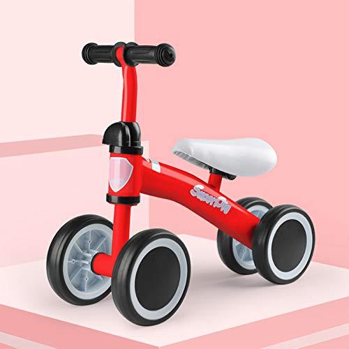 DDXY-Bicicleta de Equilibrio para Bebés y Niños Pequeños,Montar Bicicleta Sin Pedales 10-36 Meses,Bicicleta Deslizante para Niños de 4 Ruedas,Rojo