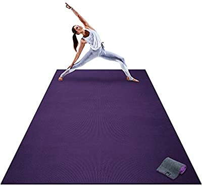 """Premium Extra Large Yoga Mat - 9' x 6' x 8mm Extra Thick & Comfortable, Non-Toxic, Non-Slip, Barefoot Exercise Mat - Yoga, Stretching, Cardio Workout Mats for Home Gym Flooring (108"""" Long x 72"""" Wide)"""