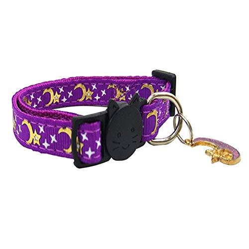 NIDONE Collar del Gato Ajustable Hebilla Gatito Collar Alimentos para Mascotas Accesorios para El Gato Pequeño Perro De Mascota Púrpura Luz