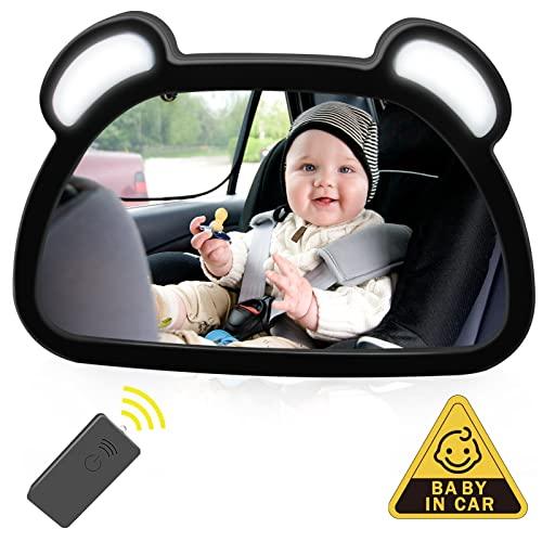Espejo Retrovisor Coche Bebé LED, Unipampa Espejo Retrovisor para el asiento trasero del niño, Bebé Coche Espejo, Espejo del Bebé para Coche Vista Trasera, 100% inastillable, Rotación 360°