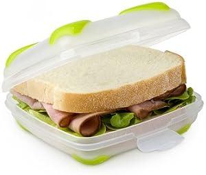 Smash Nude Food Movers Trash-Free Hinged Sandwich Box Clear/Green